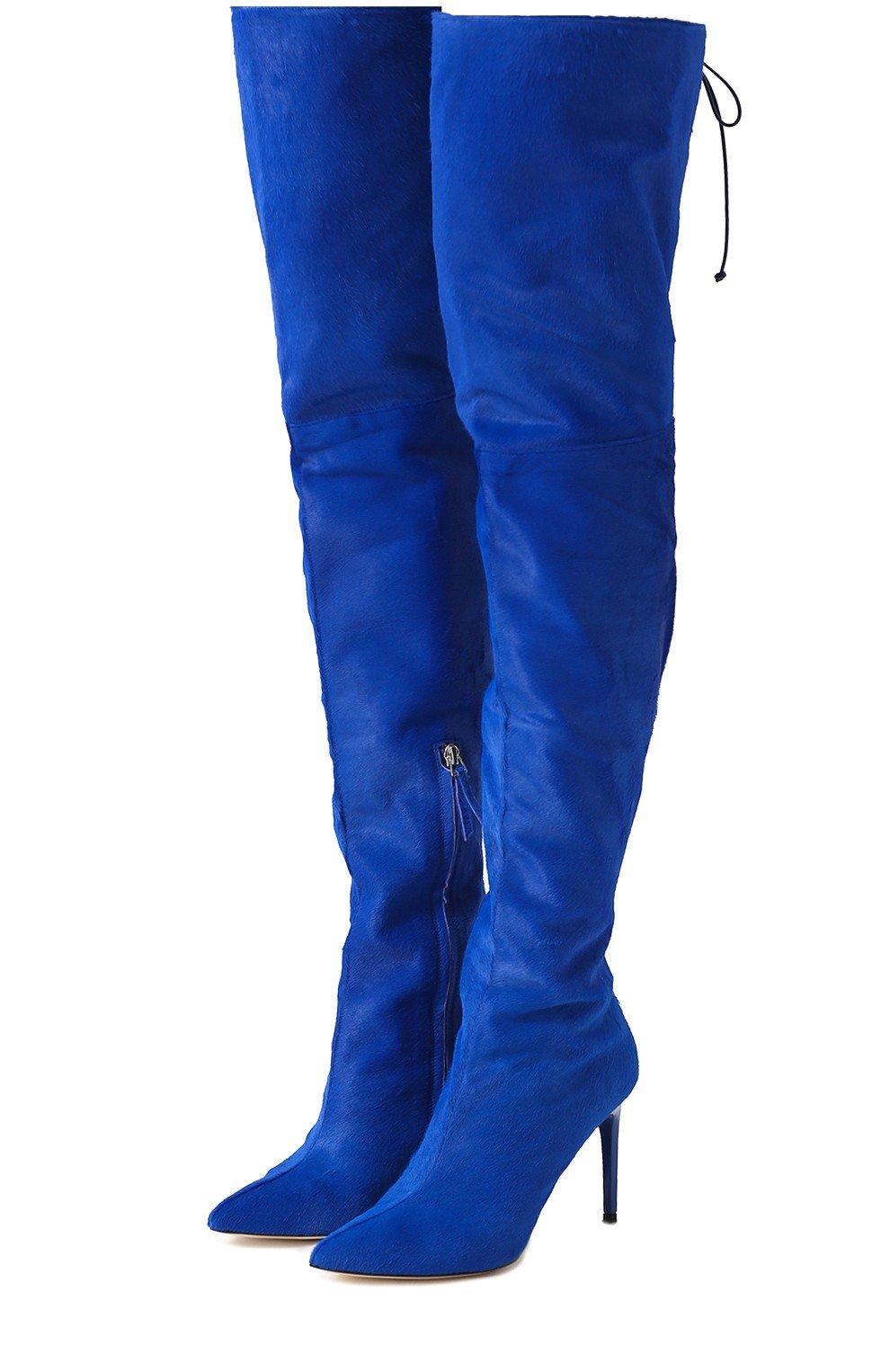 высокие синие сапоги-чулки на шпильке мода весны 2018