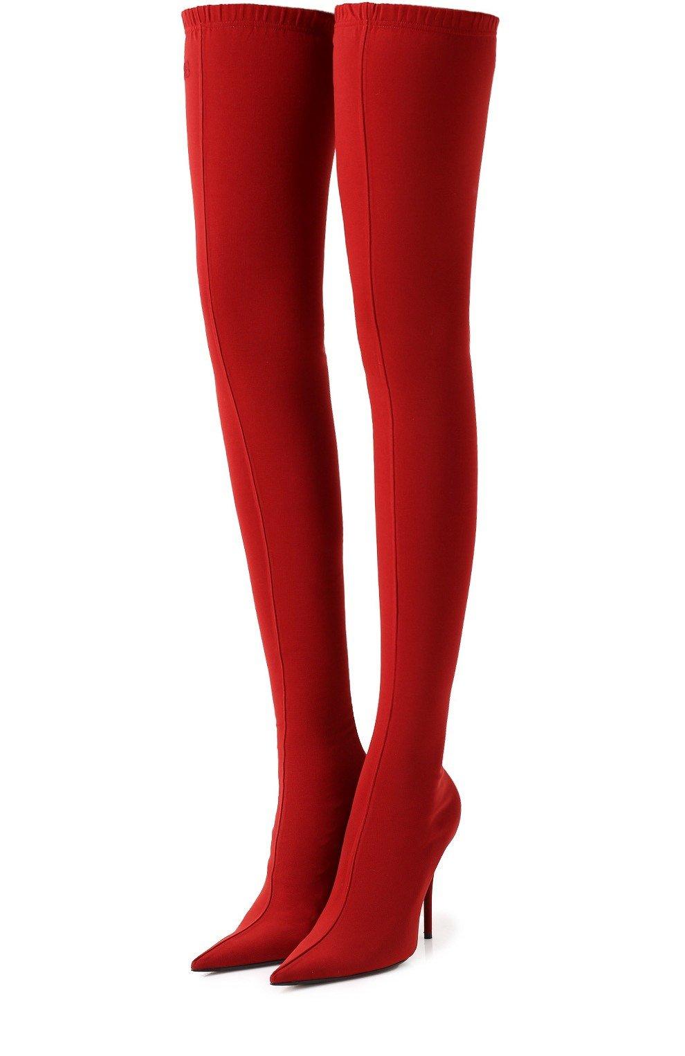 красные высокие сапоги-чулки