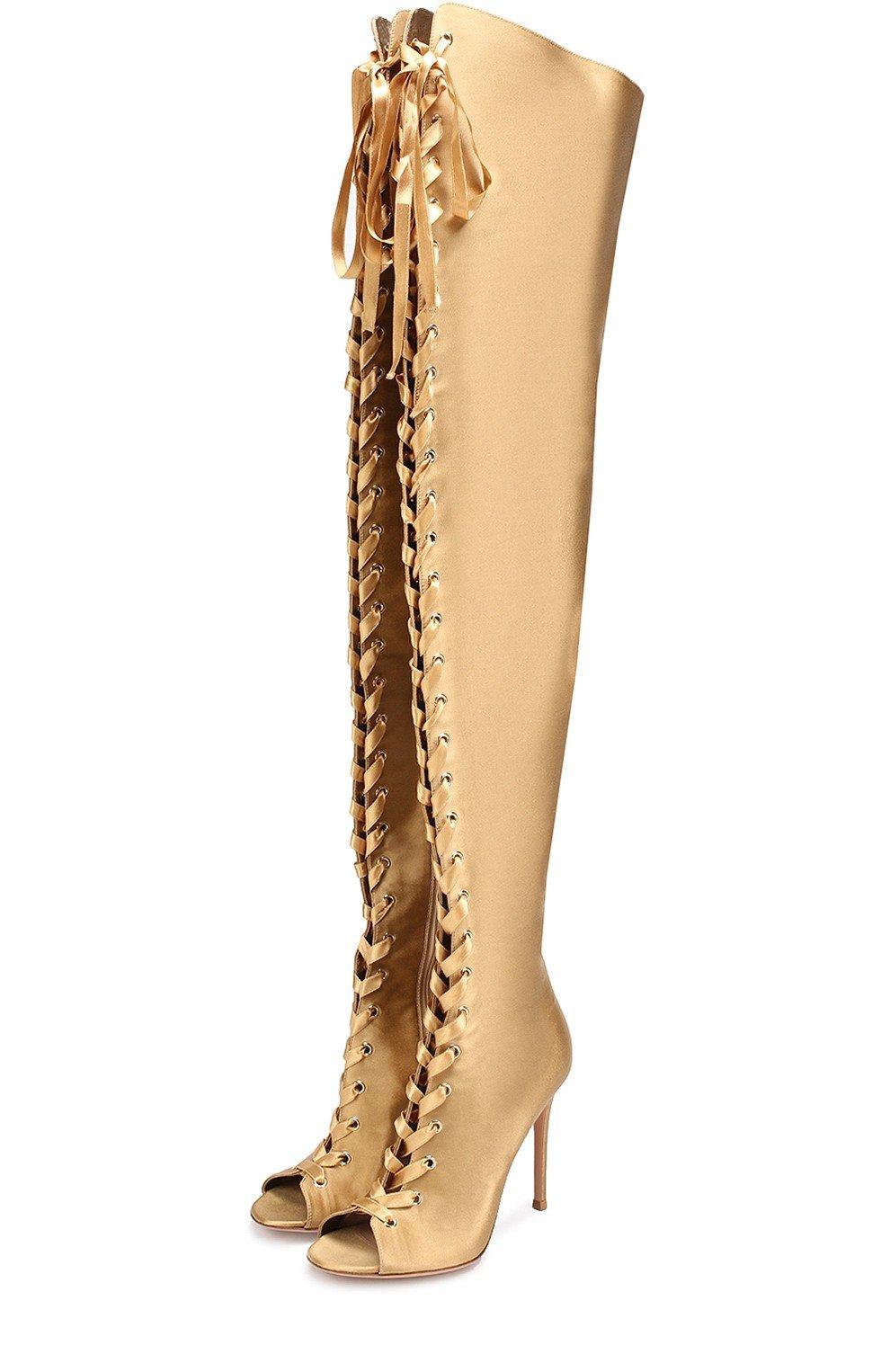 золотистые ботфорты со шнуровкой сапоги весна 2018 модные тенденции фото