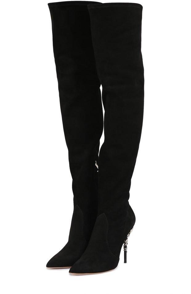 сапоги весна 2020 года: черные замшевые ботфорты на шпильке высокие