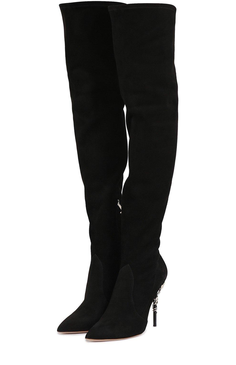 черные замшевые ботфорты на шпильке модные сапоги весны 2018 высокие
