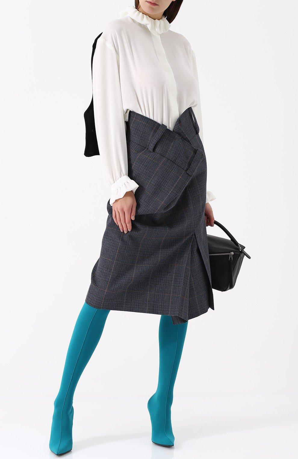 высокие бирюзовые сапоги-чулки мода весны 2018