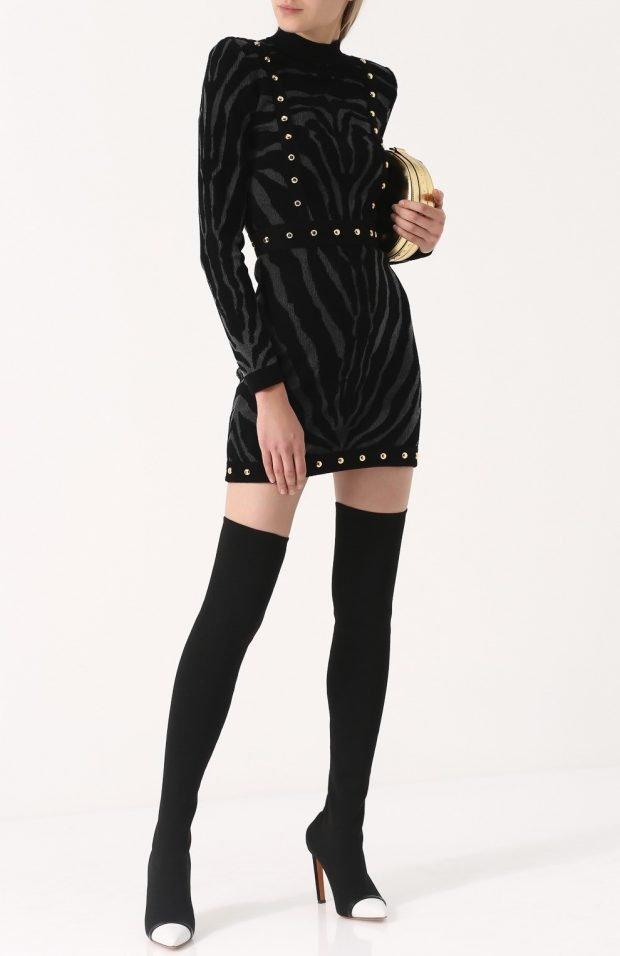 высокие черные сапоги-чулки с белым носком