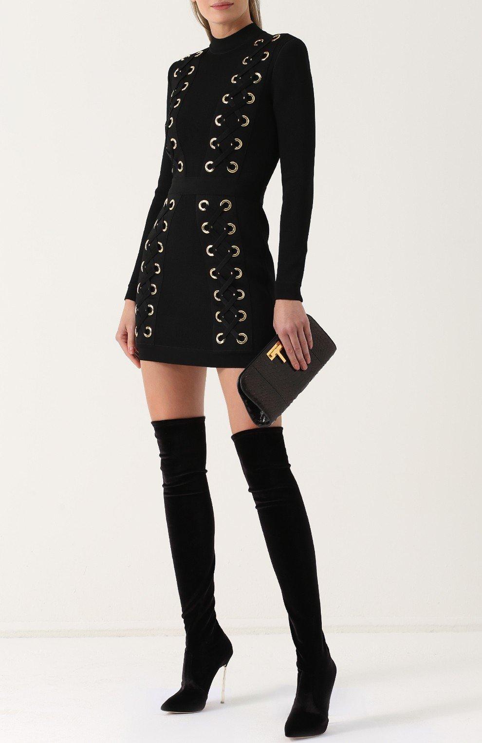 высокие черные сапоги-чулки на шпильке мода весны 2018