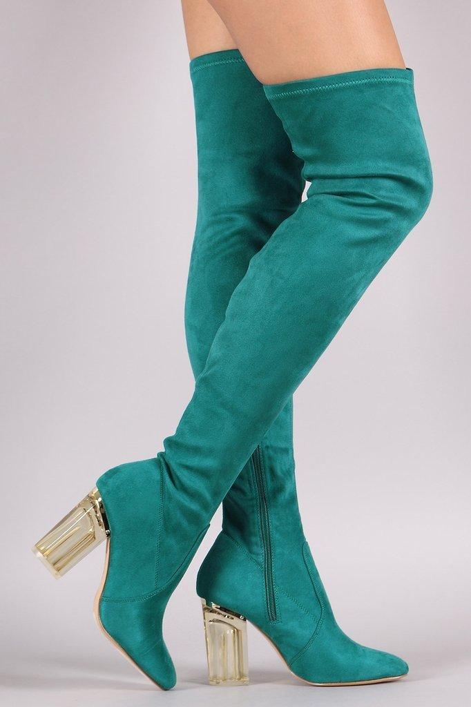 бирюзовые сапоги-чулки на каблуке