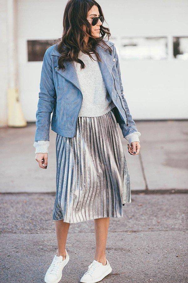 блестящая плиссированная юбка и пиджак