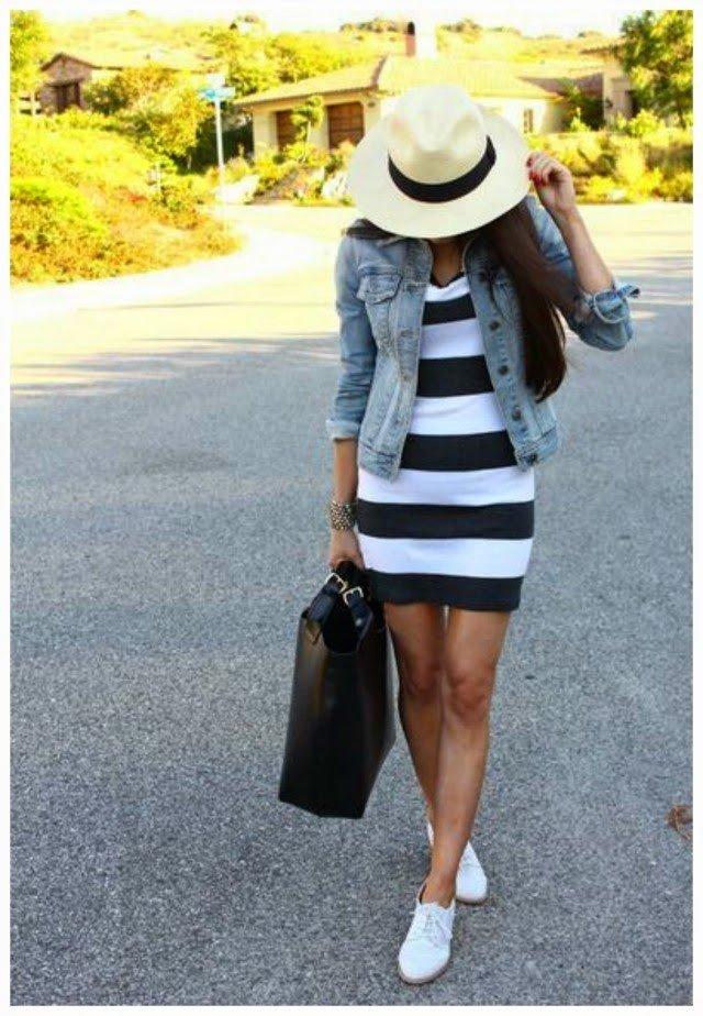 платье в полоску пиджак и шляпа стильный
