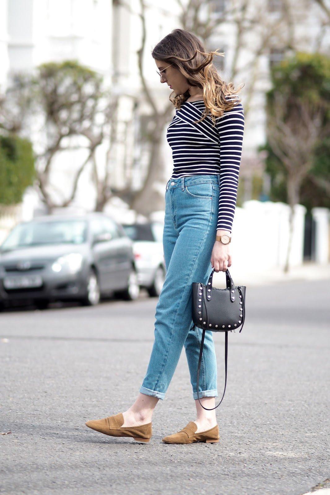 модные образы весна 2019: джинсы бойфренды и гольф в полоску