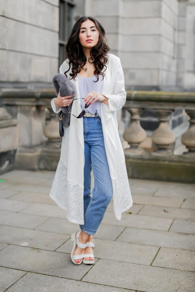 джинсы и длинный кардиган