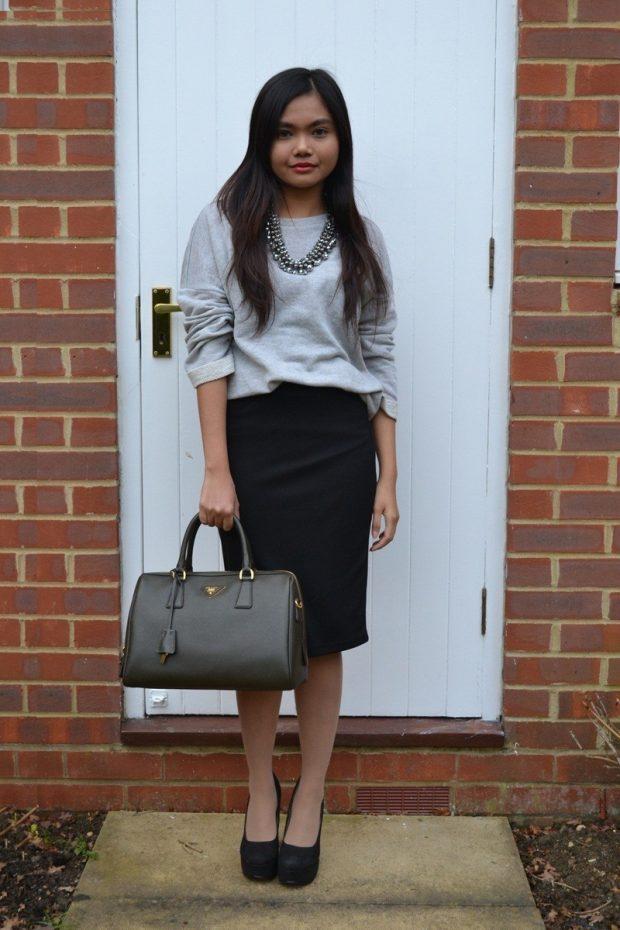 серый и черная юбка карандаш