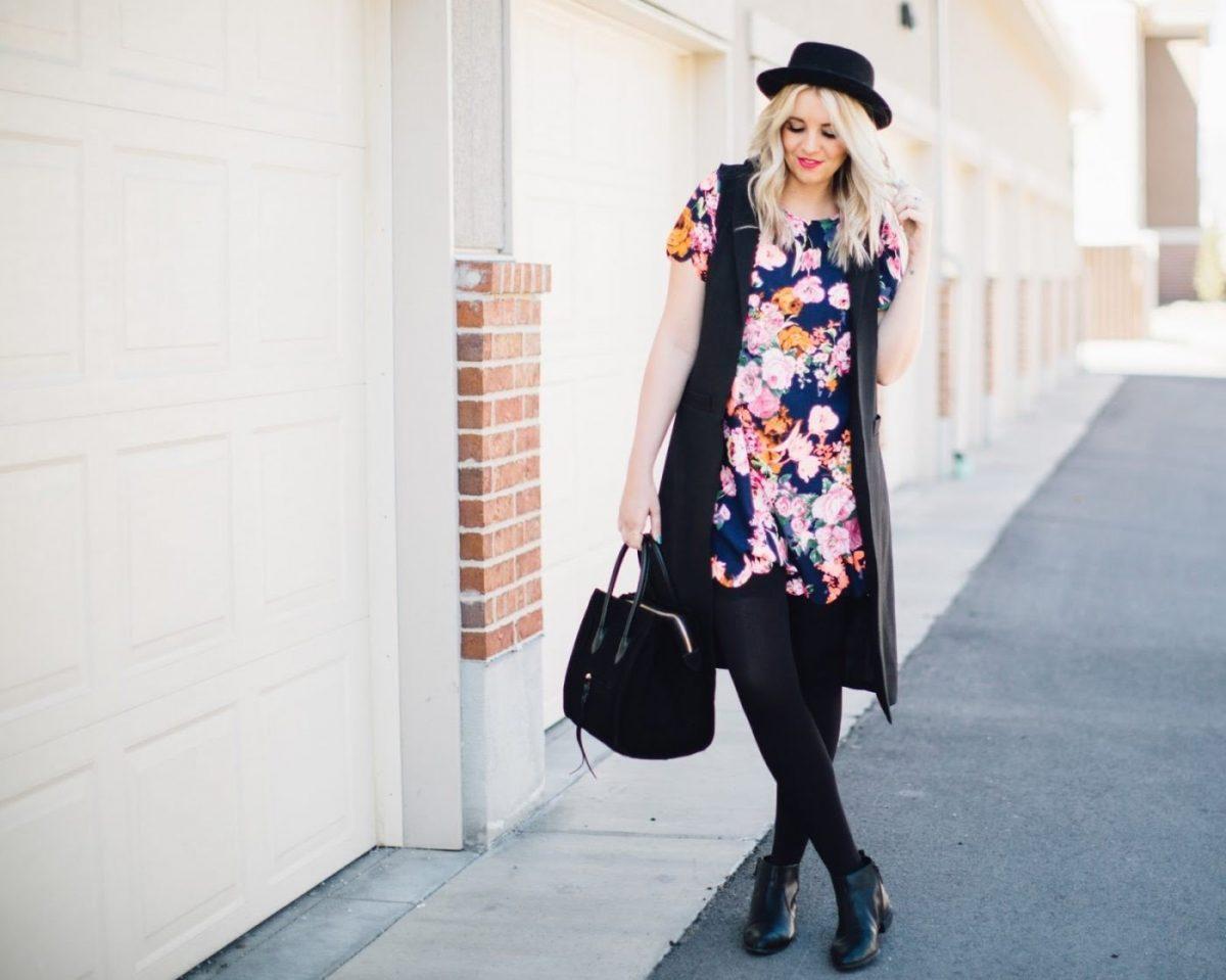образы весна 2019 фото: черный жилет и цветочная блуза
