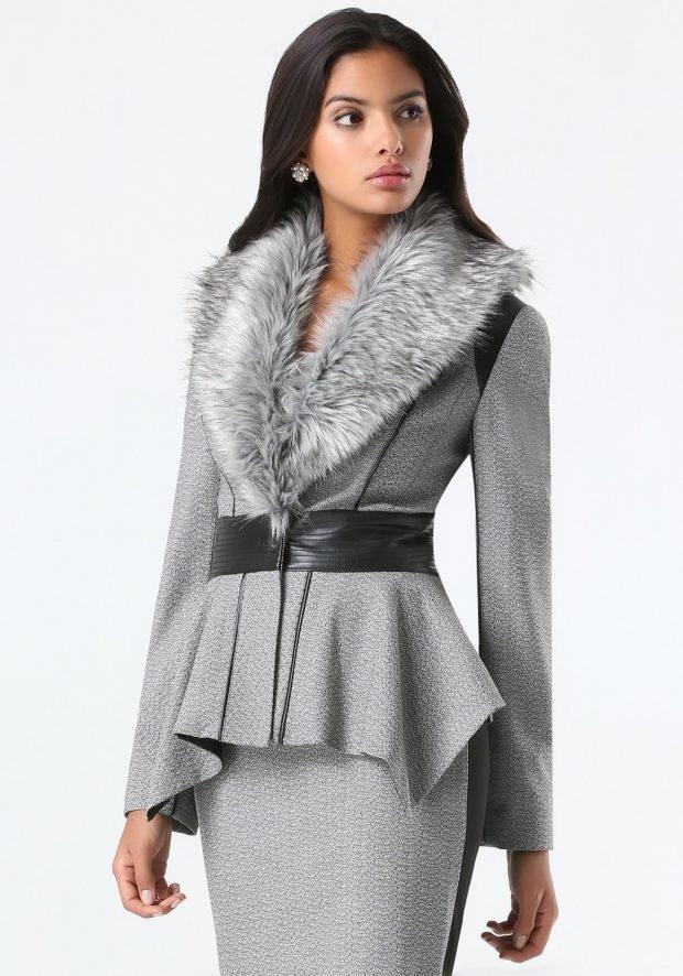 стильные образы весна лето 2019: серый пиджак с меховым воротником повседневный