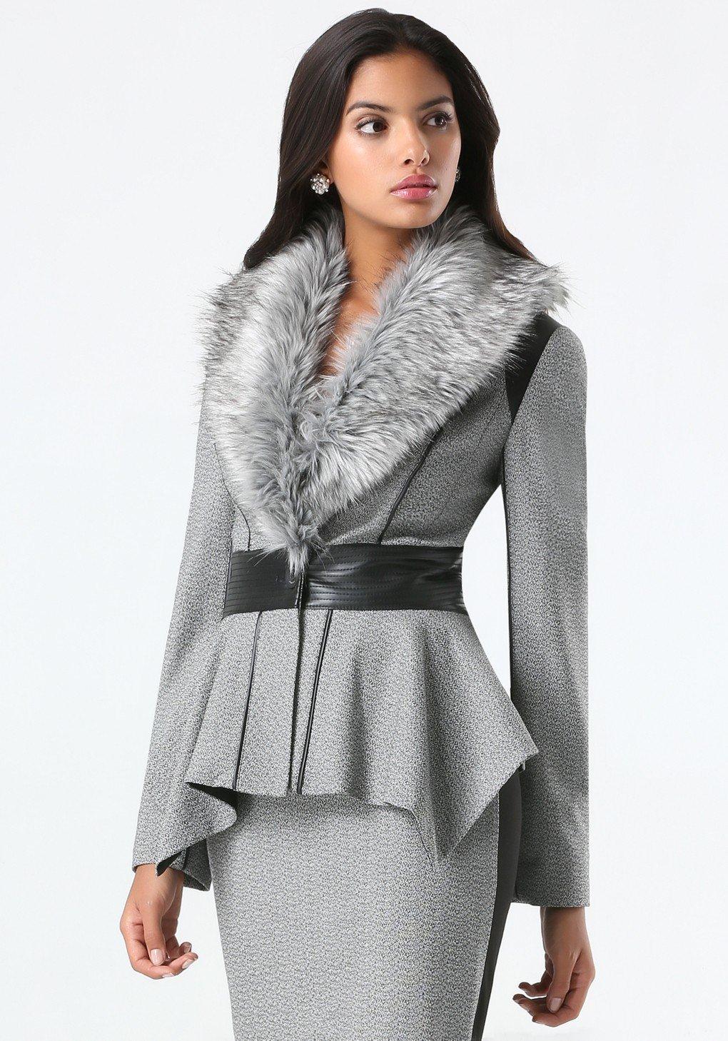 стильный образ весна 2019: серый пиджак с меховым воротником повседневный