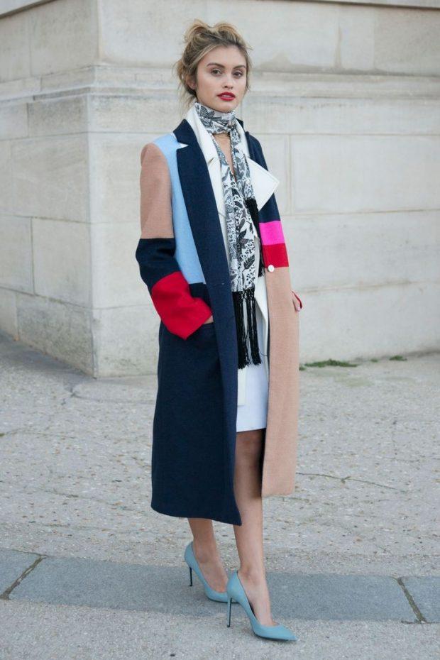 модные образы весна лето 2019: разноцветное пальто
