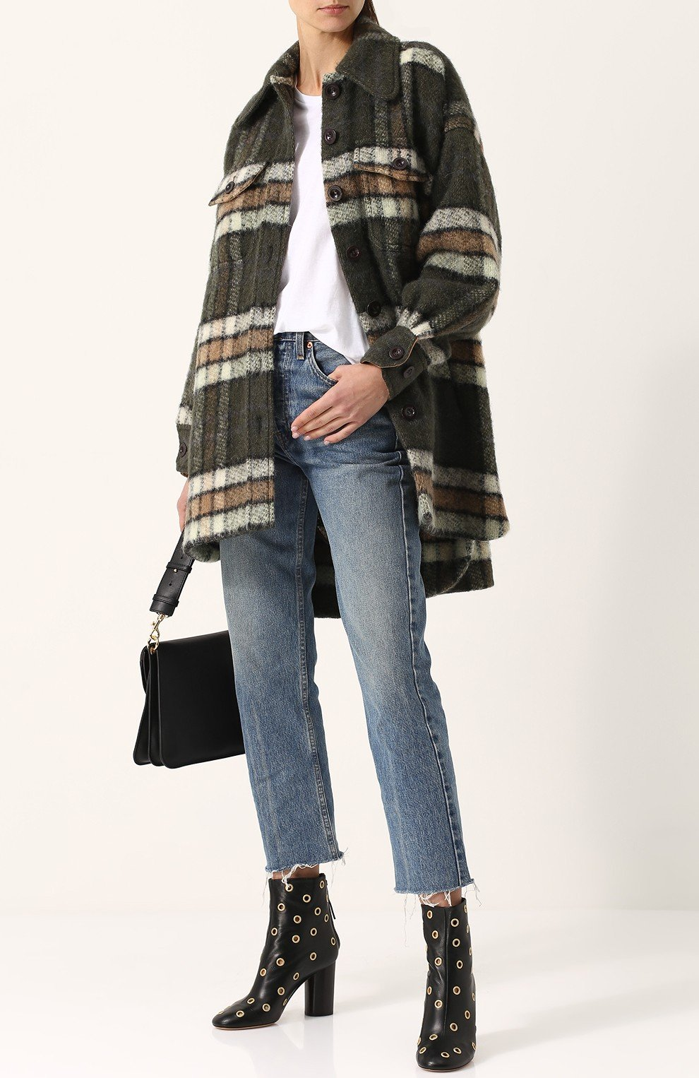 модные образы весна 2019: пальто в клетку и прямые джинсы