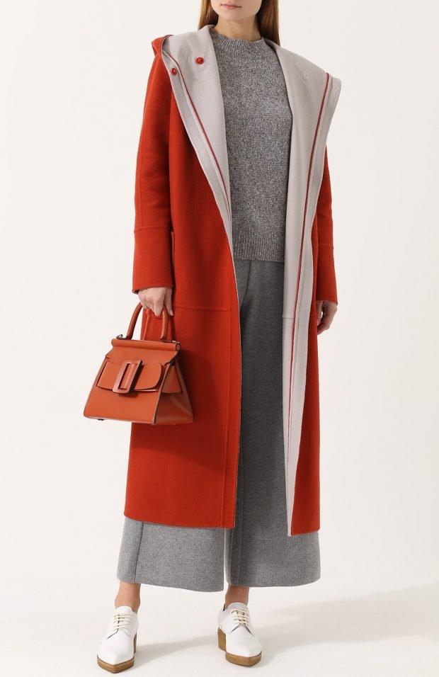 модные образы весна лето 2019: красное пальто и длинное серое платье