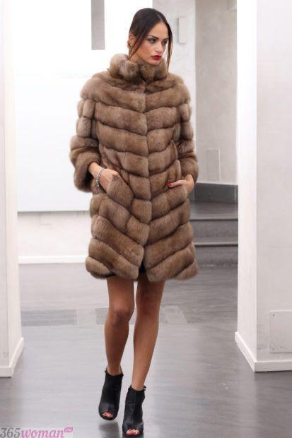 верхняя одежда осень зима 2018 2019 для женщин: шуба до колена светло-коричневая