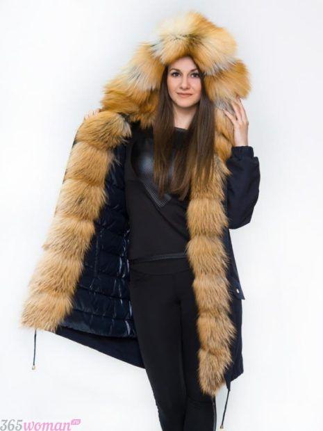 мода верхней одежды осень зима 2018 2019: темная парка с натуральным мехом