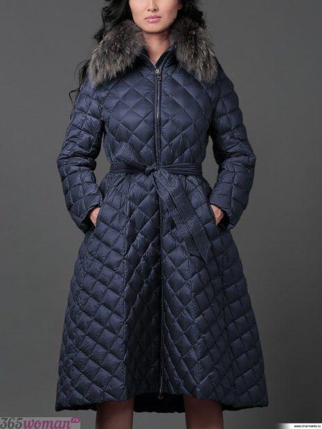 осень зима 2018 2019 верхняя одежда женская: синий стеганый пуховик