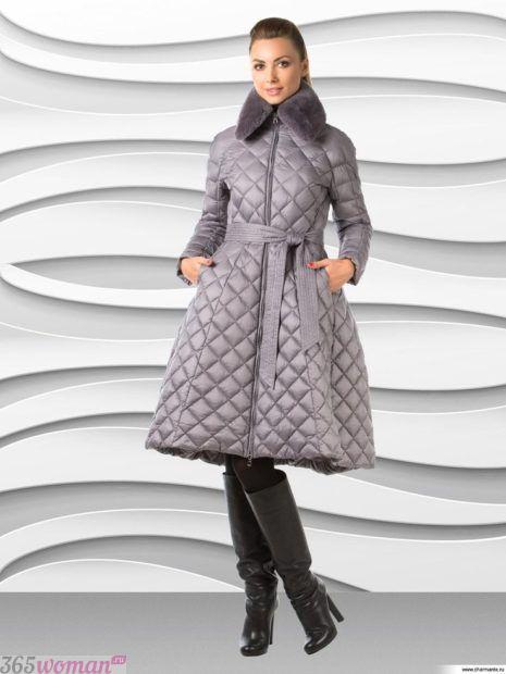 модная верхняя одежда осень зима 2018 2019: серый стеганый пуховик