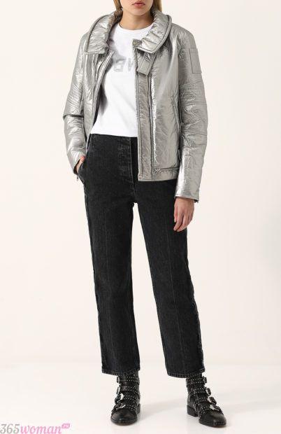 тенденции верхней одежды осень зима 2018 2019: серебристая кожаная куртка