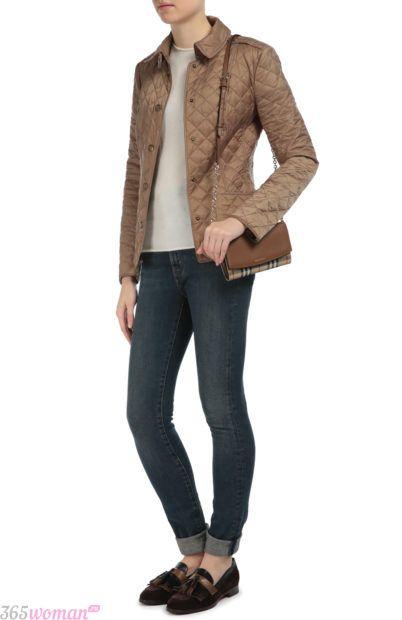 мода осень зима верхняя одежда: короткая коричневая стеганая куртка