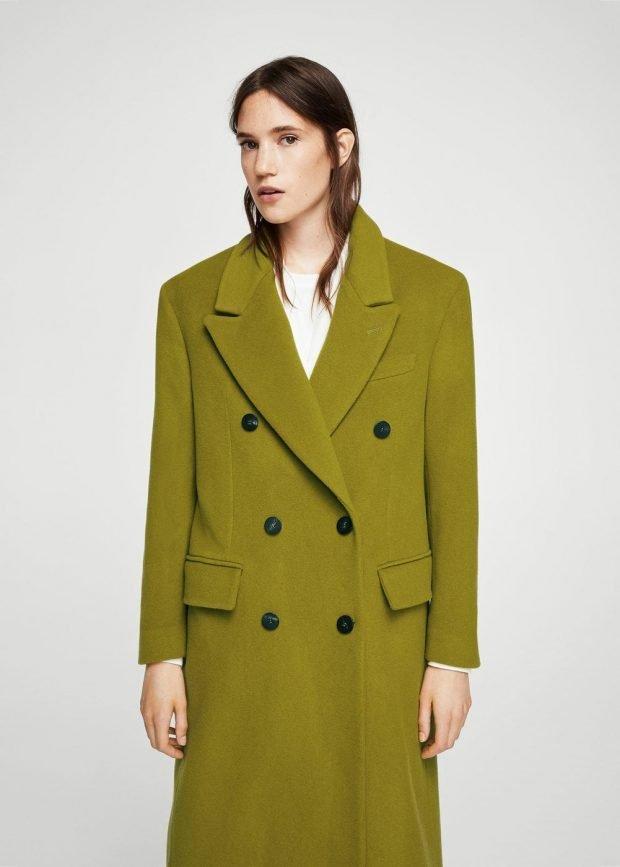 оливковое пальто оверсайз