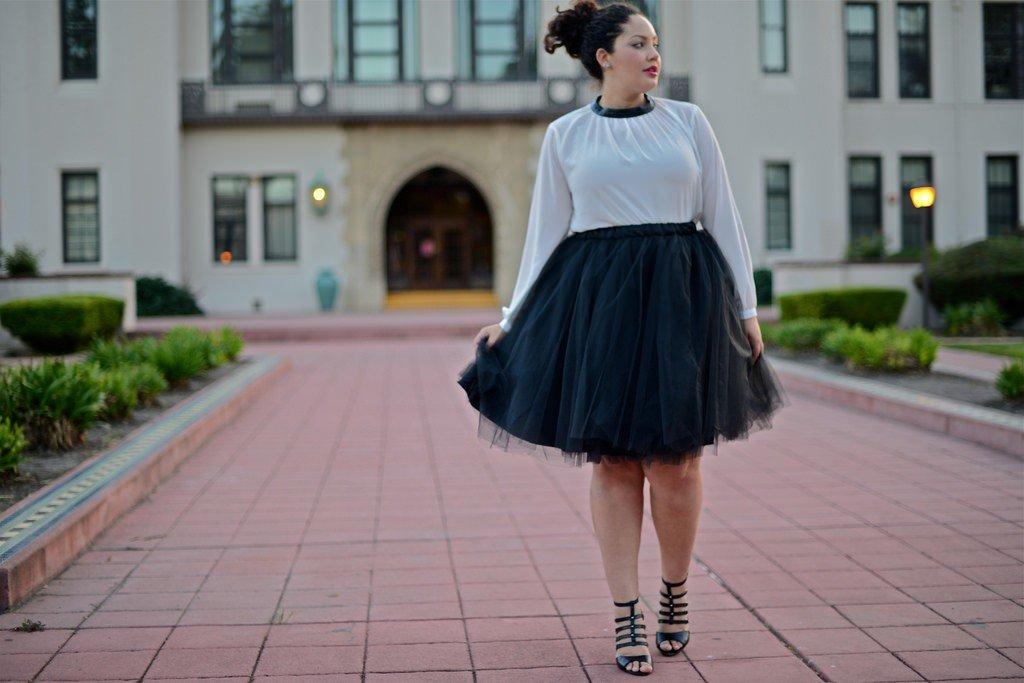 черная юбка пачка для полных