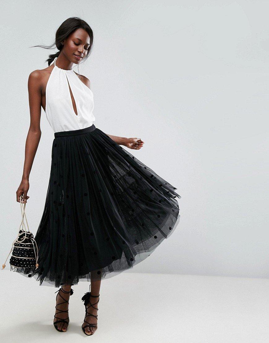 удлиненная черная юбка пачка