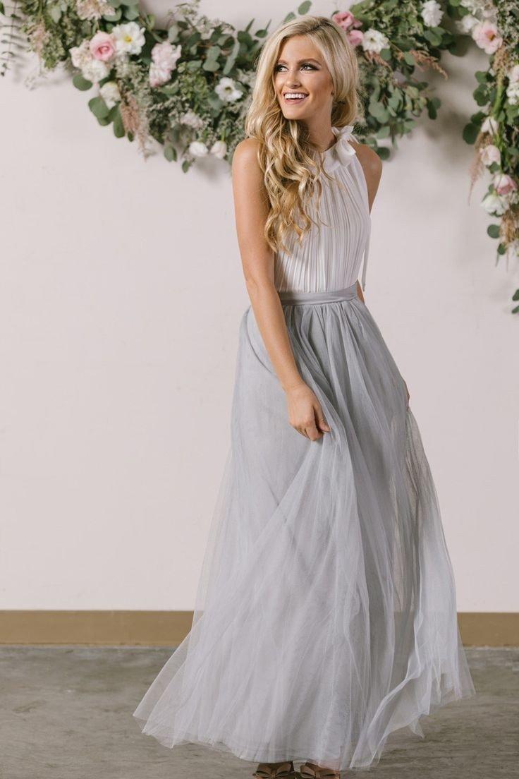 длинная серая юбка пачка