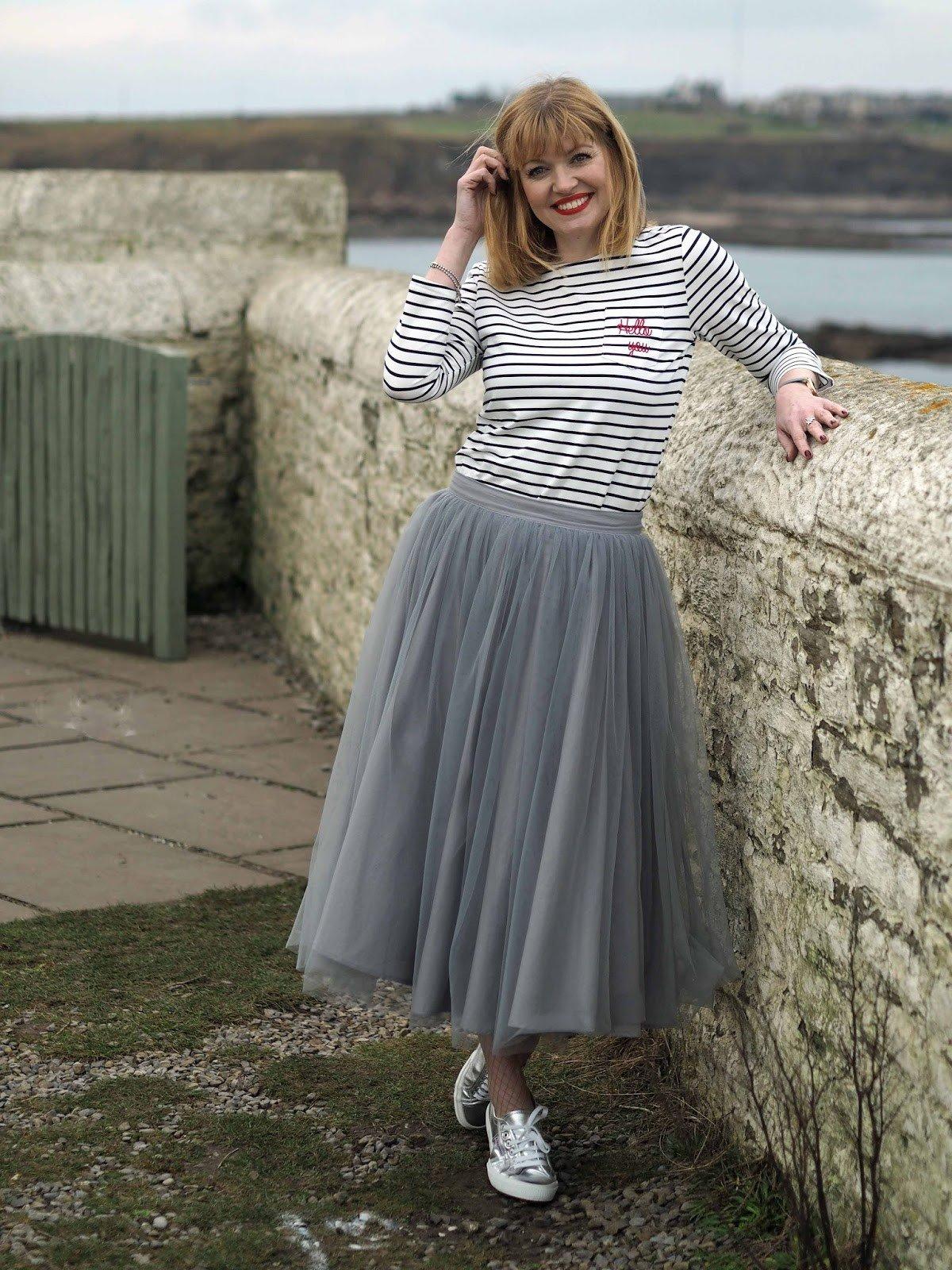 серая юбка пачка удлиненная