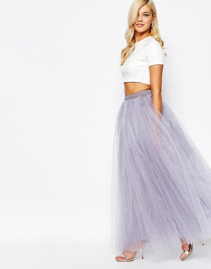 сиреневая длинная юбка пачка