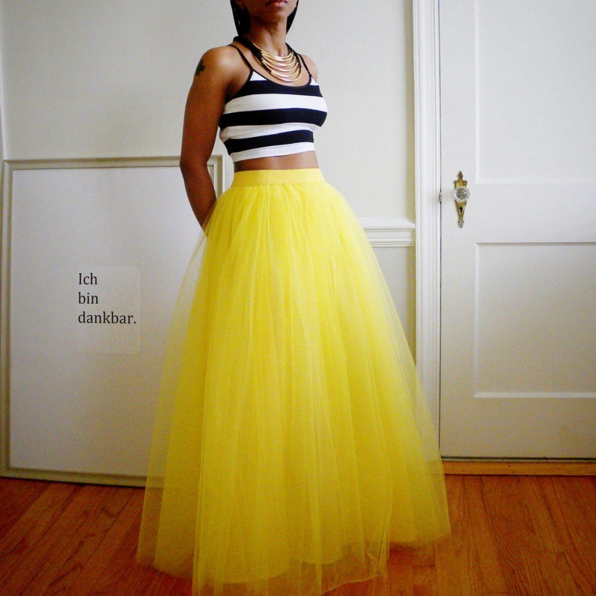 желтая длинная юбка пачка
