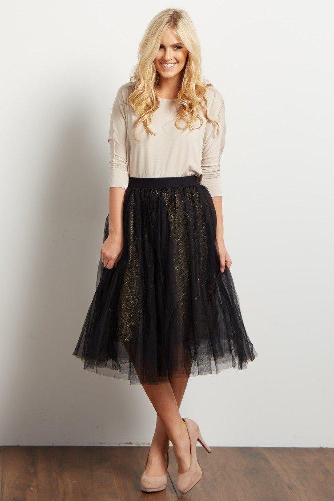 черная юбка пачка миди с блестящим подъюбником