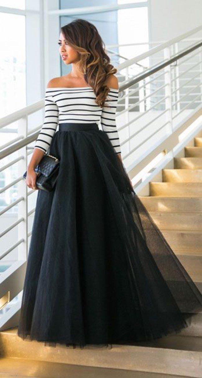 черная длинная юбка пачка