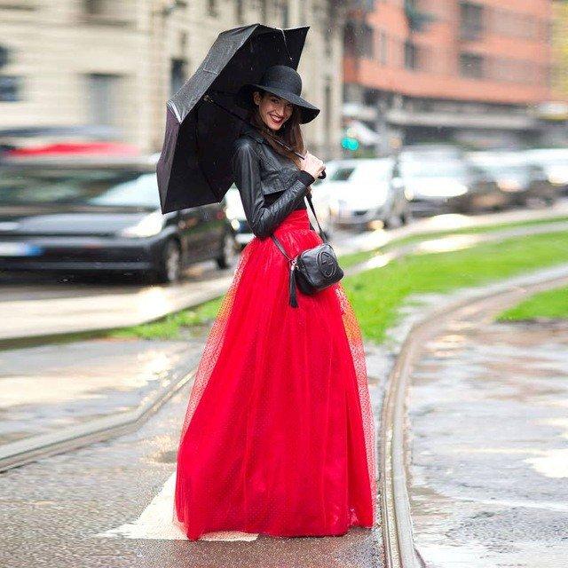 красная длинная юбка пачка
