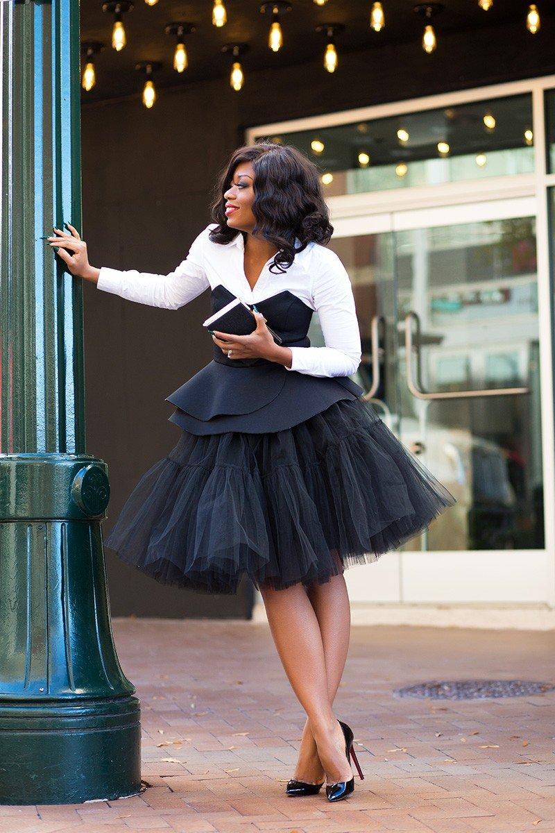 черная юбка пачка и костюм