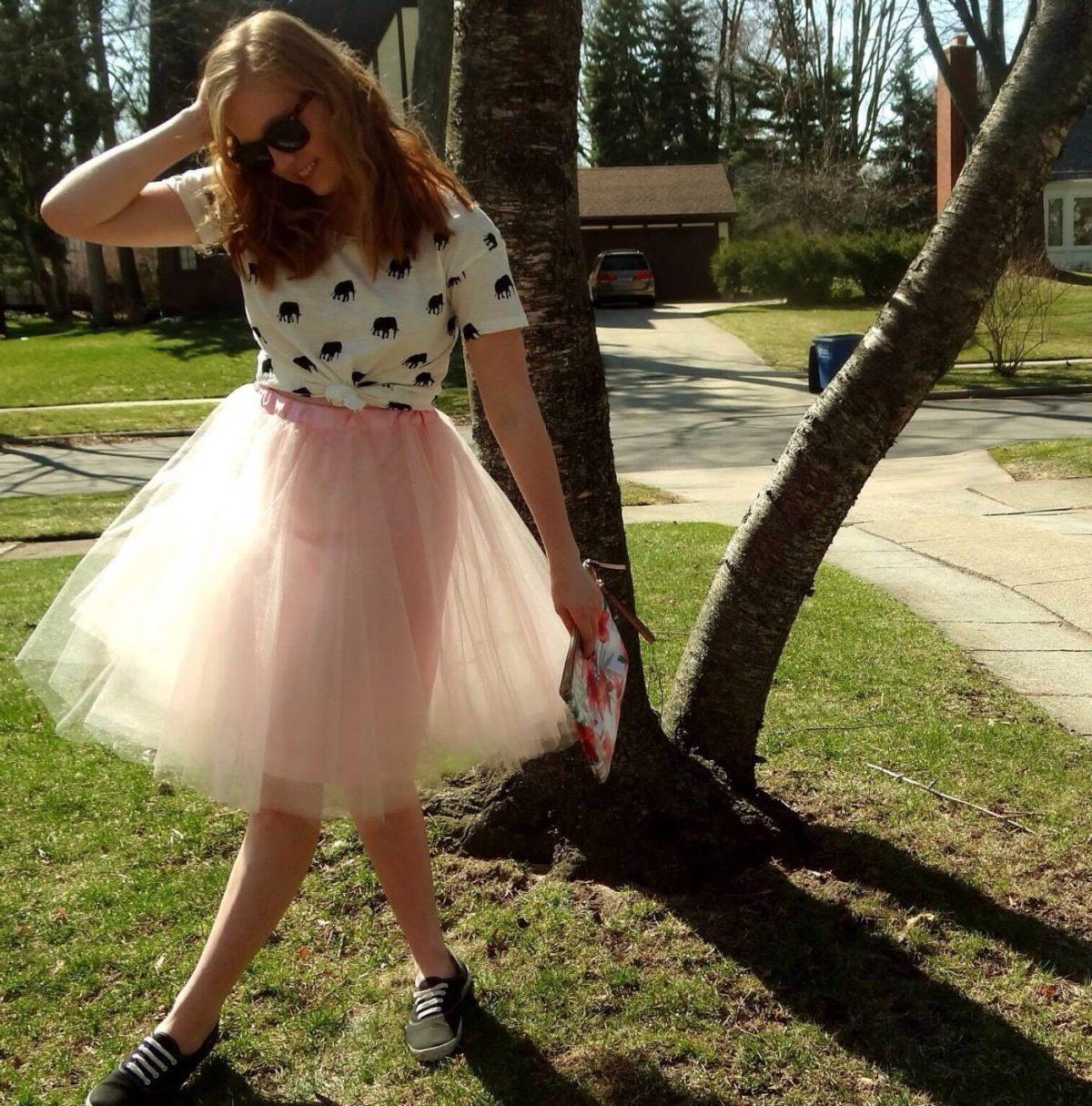 пастельная юбка пачка и футболка