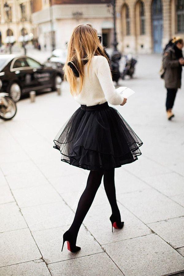 черная юбка пачка до колена