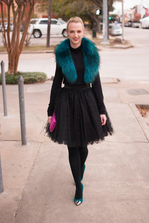 черная юбка пачка  и куртка с мехом