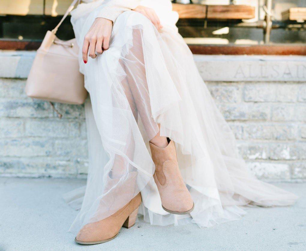 юбка пачка, бежевые ботинки и сумка