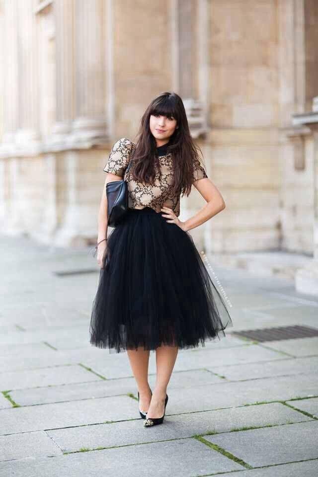 черная юбка пачка за колено