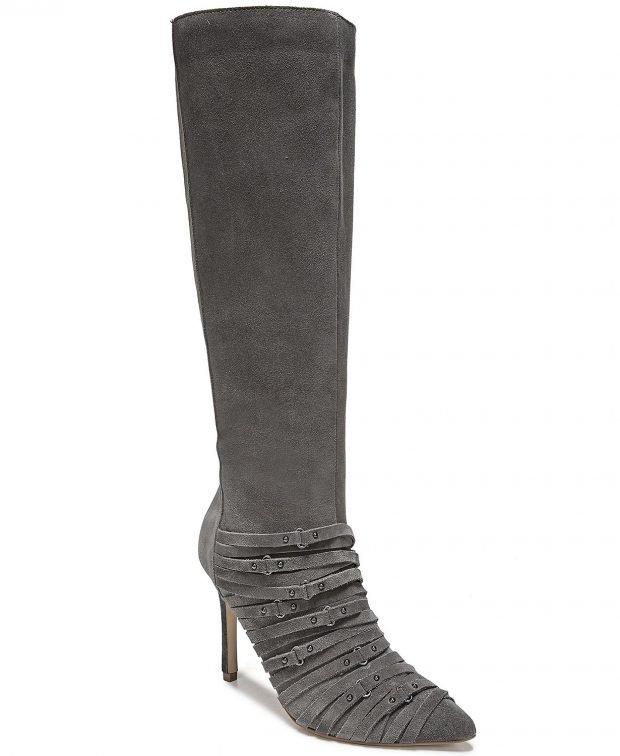 модные сапоги весна 2020: серые с ремешками