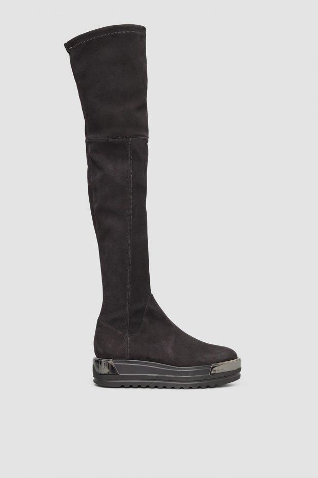 женская обувь осень 2019 2020: замшевые ботфорты на платформе