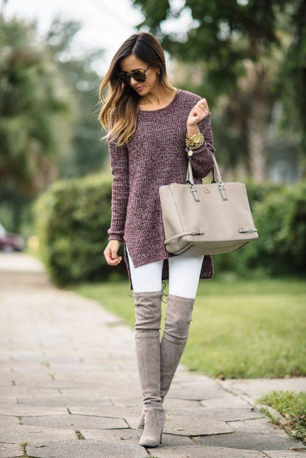 женская обувь осень 2019 2020: серые замшевые ботфорты