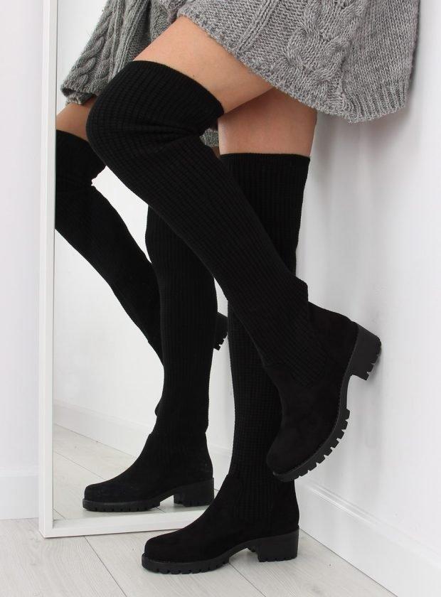женская обувь осень 2019 2020: черные замшевые ботфорты