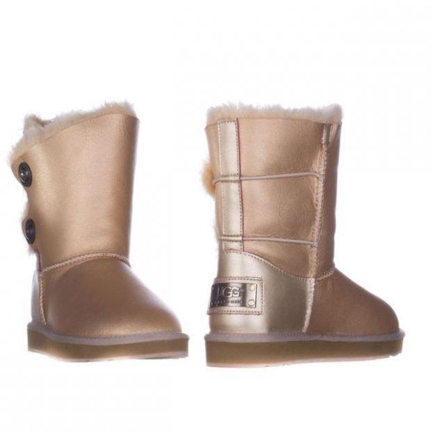 зимняя обувь женская 2019 2020: золотистые угги