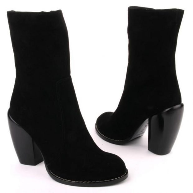 женская обувь осень зима 2019 2020: черные полусапожки из замши