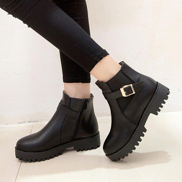женская обувь осень зима 2019 2020: черные полусапожки из кожи