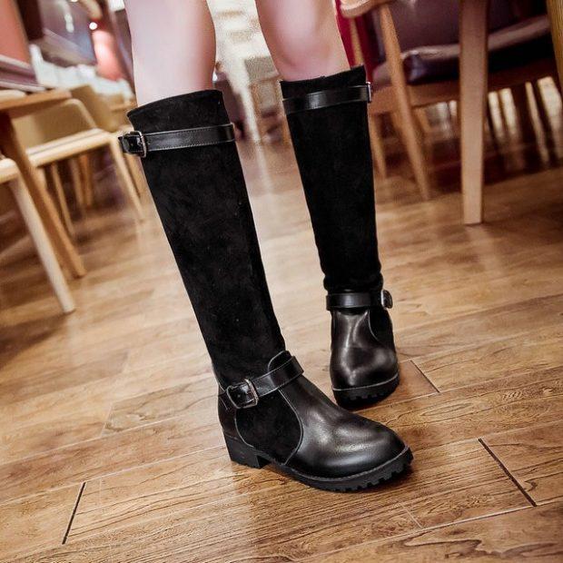 черные сапоги без каблука из кожи и замши